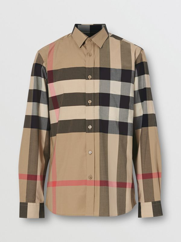 Check Stretch Cotton Poplin Shirt in Archive Beige - Men | Burberry Singapore - cell image 3