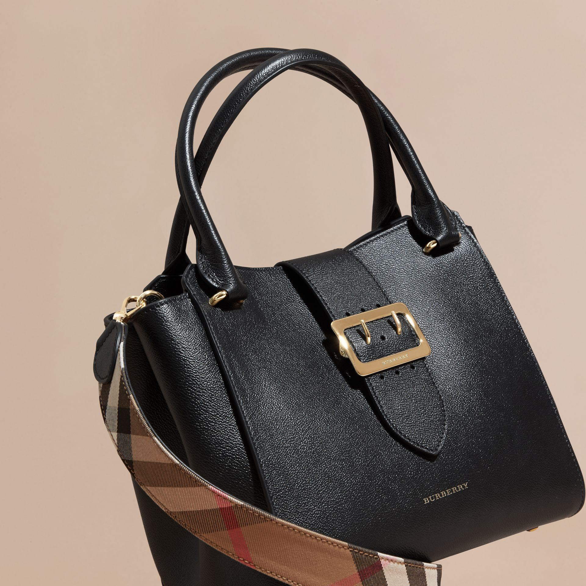 Black The Medium Buckle Tote in Grainy Leather Black - gallery image 8