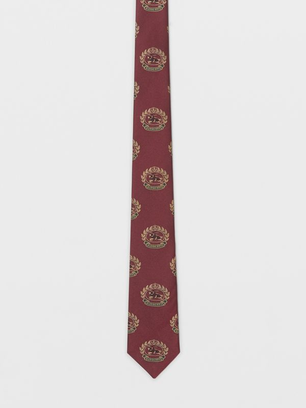 Slim Cut Archive Crest Silk Tie in Claret - Men | Burberry - cell image 3