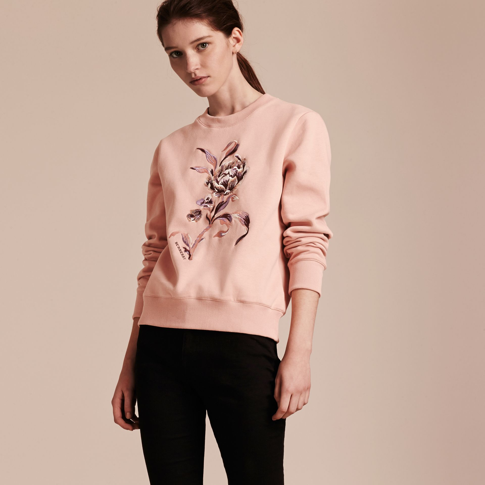 Embroidered Floral Motif Cotton Blend Sweatshirt Ash Rose - gallery image 6
