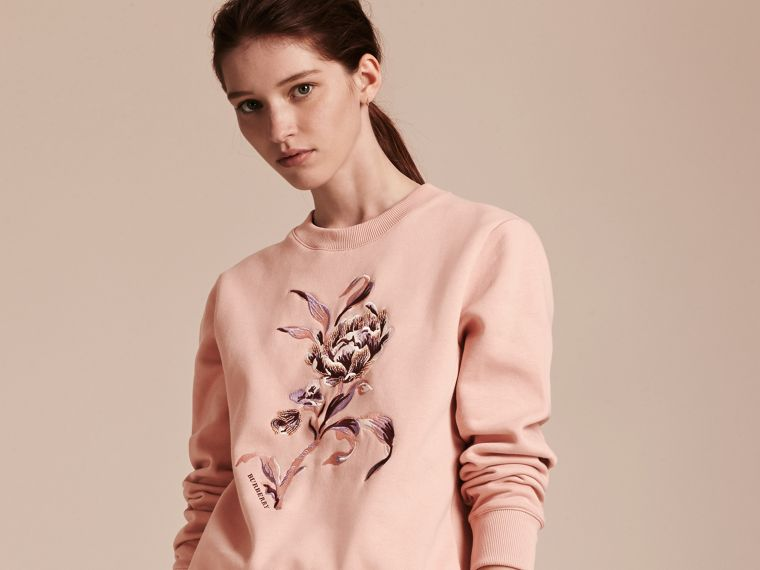 Embroidered Floral Motif Cotton Blend Sweatshirt