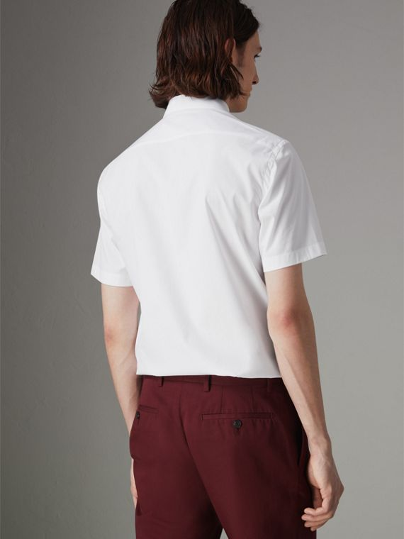 Short-sleeve Stretch Cotton Shirt in White - Men | Burberry Hong Kong - cell image 2