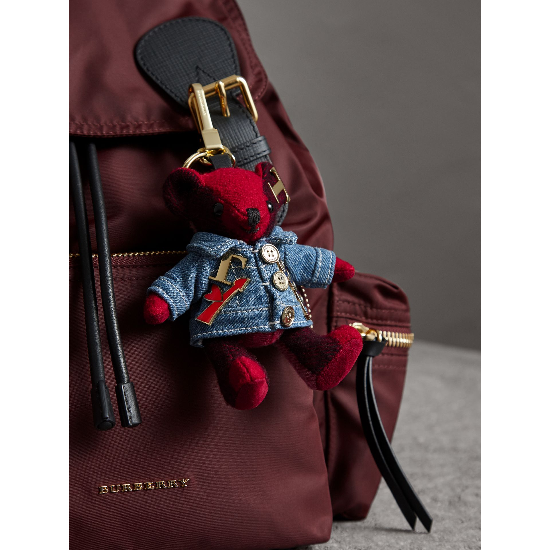 Thomas Bear Charm in Check Cashmere with Jean Jacket - Women | Burberry - gallery image 3