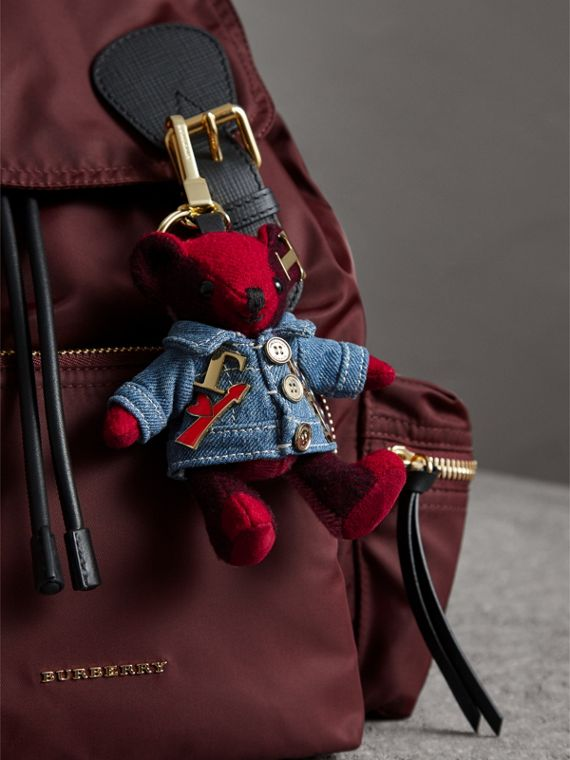 Thomas Bear Charm in Check Cashmere with Jean Jacket - Women | Burberry - cell image 2
