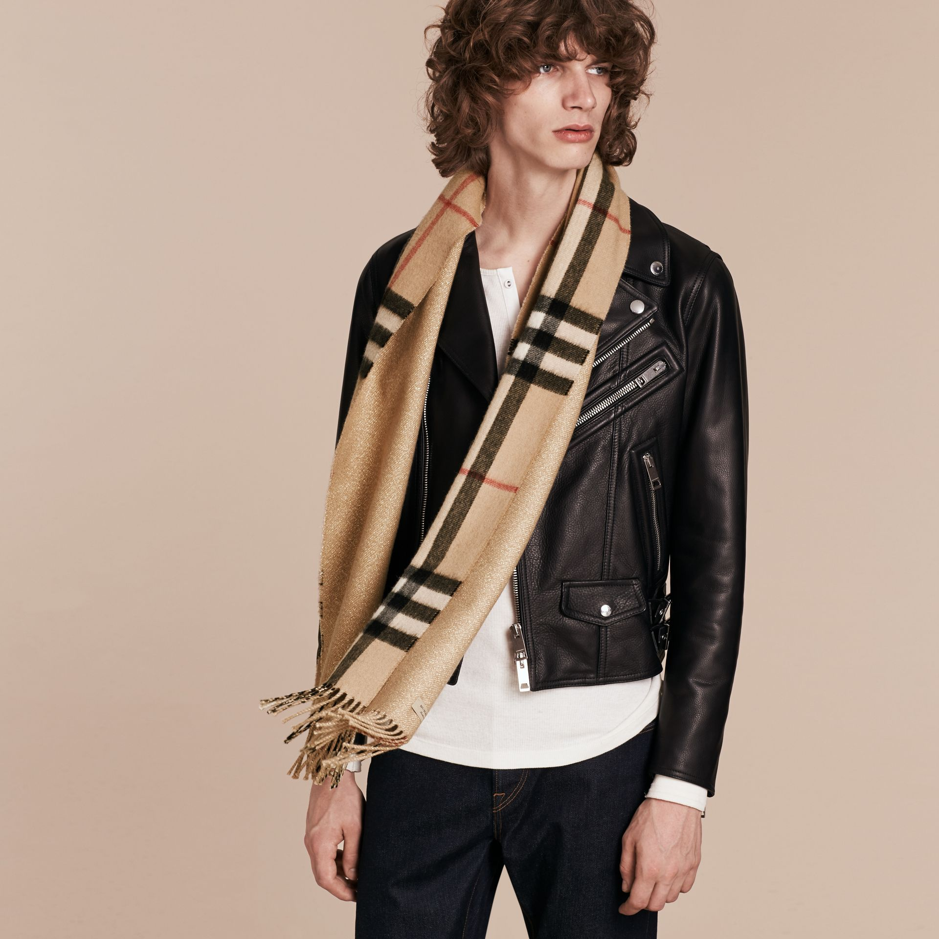 Reversible Metallic Check Cashmere Scarf in Camel | Burberry - gallery image 3