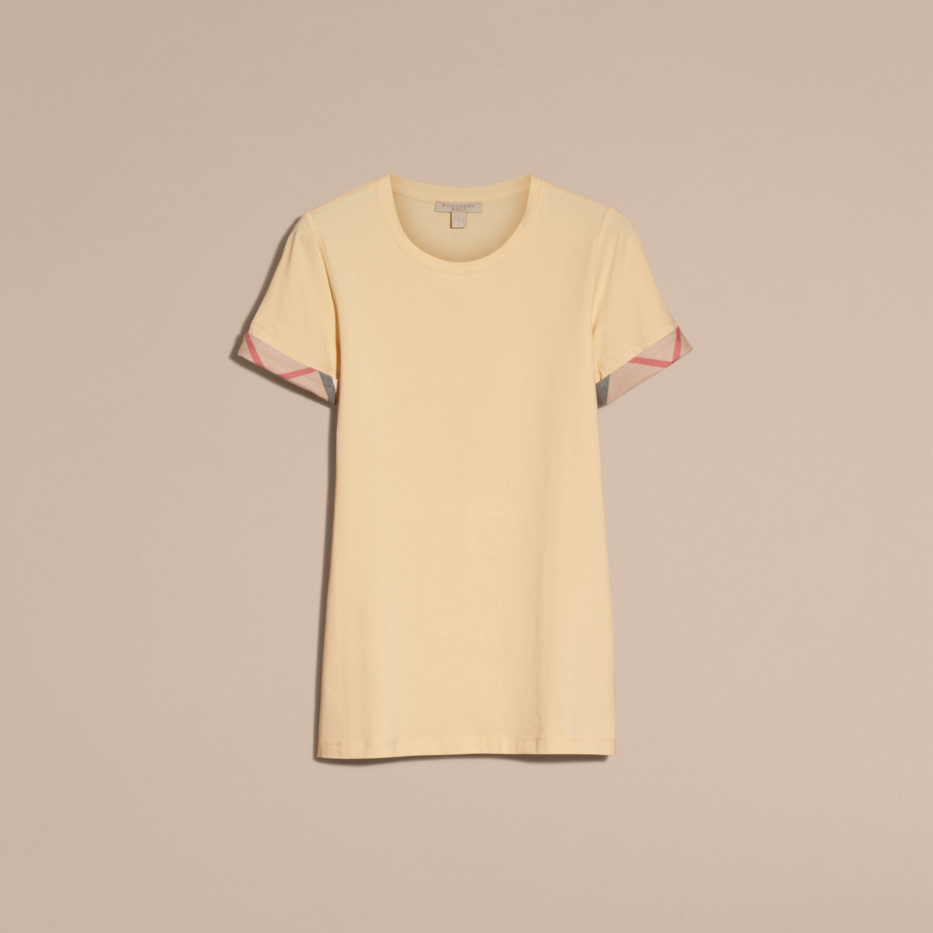 Pale lemon Check Trim Stretch Cotton T-shirt - gallery image 4