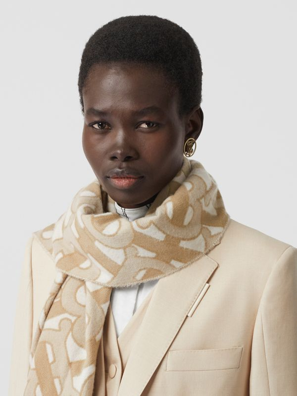 Monogram Cashmere Jacquard Scarf in Light Sand | Burberry - cell image 2