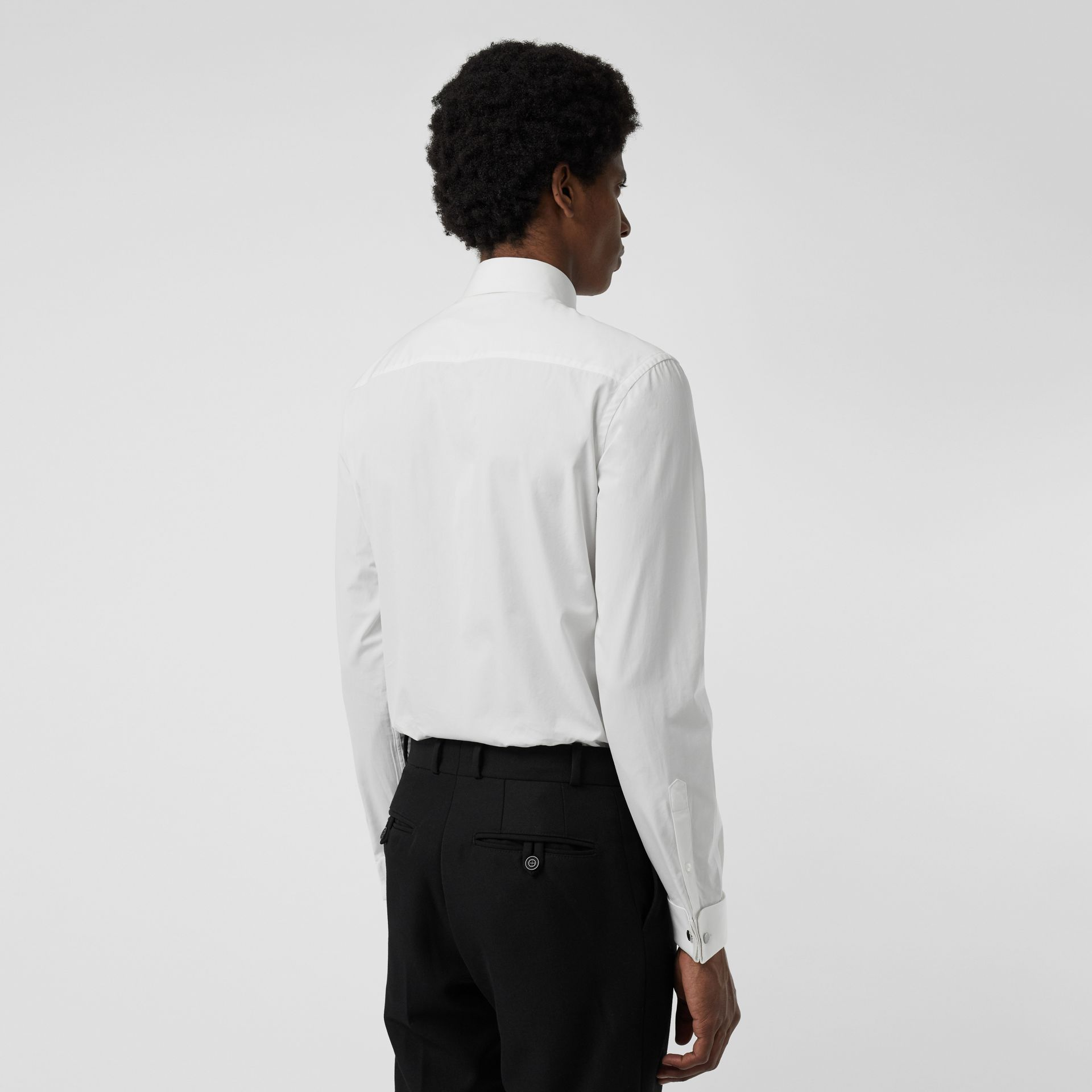 Slim Fit Double Cuff Cotton Poplin Shirt in White - Men | Burberry United Kingdom - gallery image 2