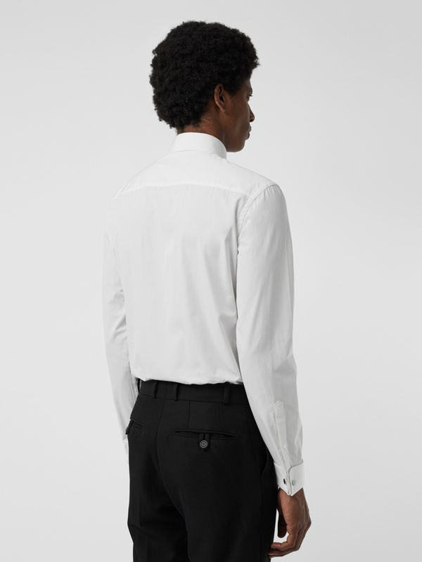 Slim Fit Double Cuff Cotton Poplin Shirt in White - Men | Burberry Hong Kong - cell image 2
