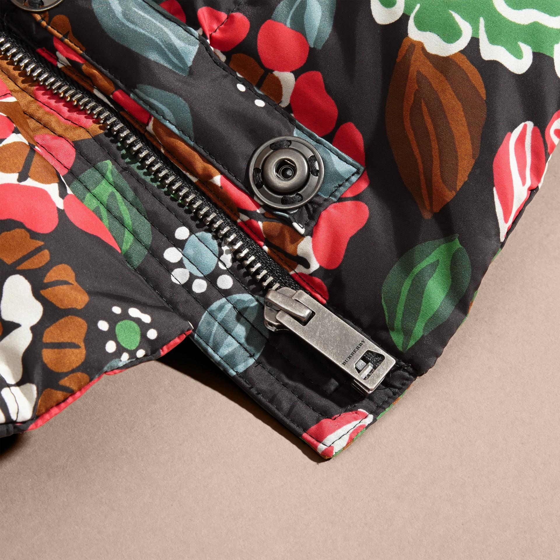 Vert sauge Doudoune longue à imprimé floral avec capuche repliable - photo de la galerie 2