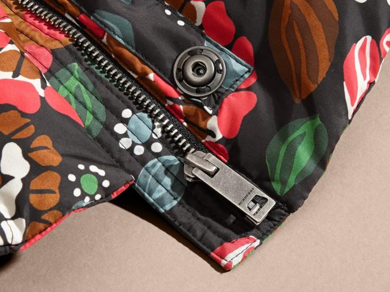 Verde salvia Piumino con stampa floreale e cappuccio packaway - cell image 1