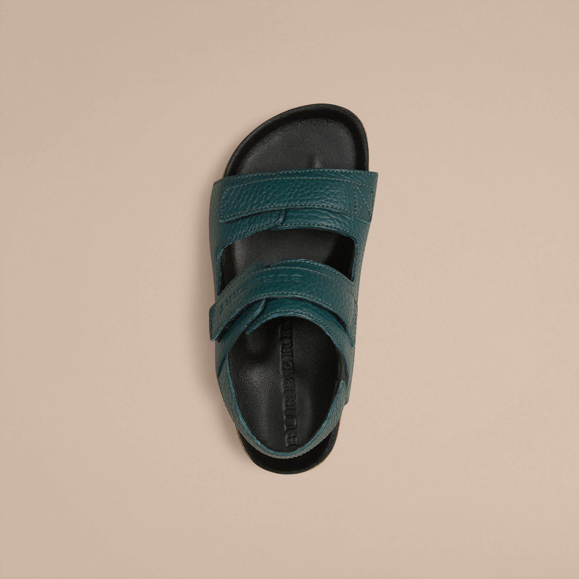 Deep viridian green Grainy Leather Sandals - gallery image 2