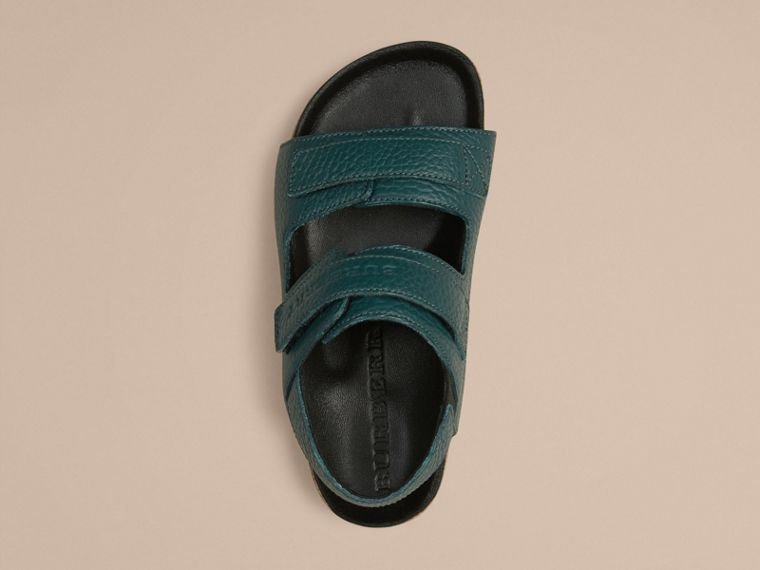 Deep viridian green Grainy Leather Sandals - cell image 1