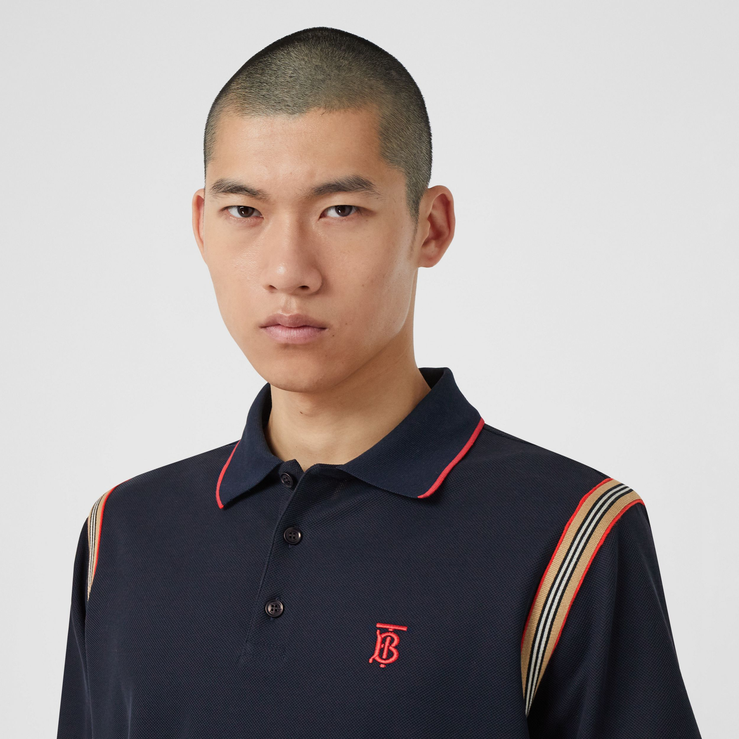 Icon Stripe Trim Monogram Motif Cotton Polo Shirt in Navy - Men | Burberry - 2