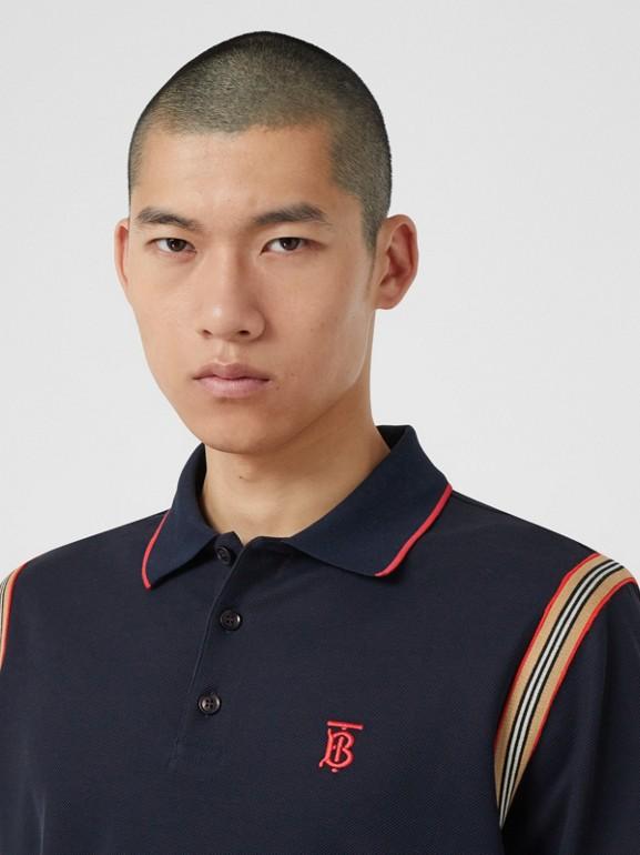 アイコンストライプトリム モノグラムモチーフ コットン ポロシャツ (ネイビー) - メンズ | バーバリー - cell image 1