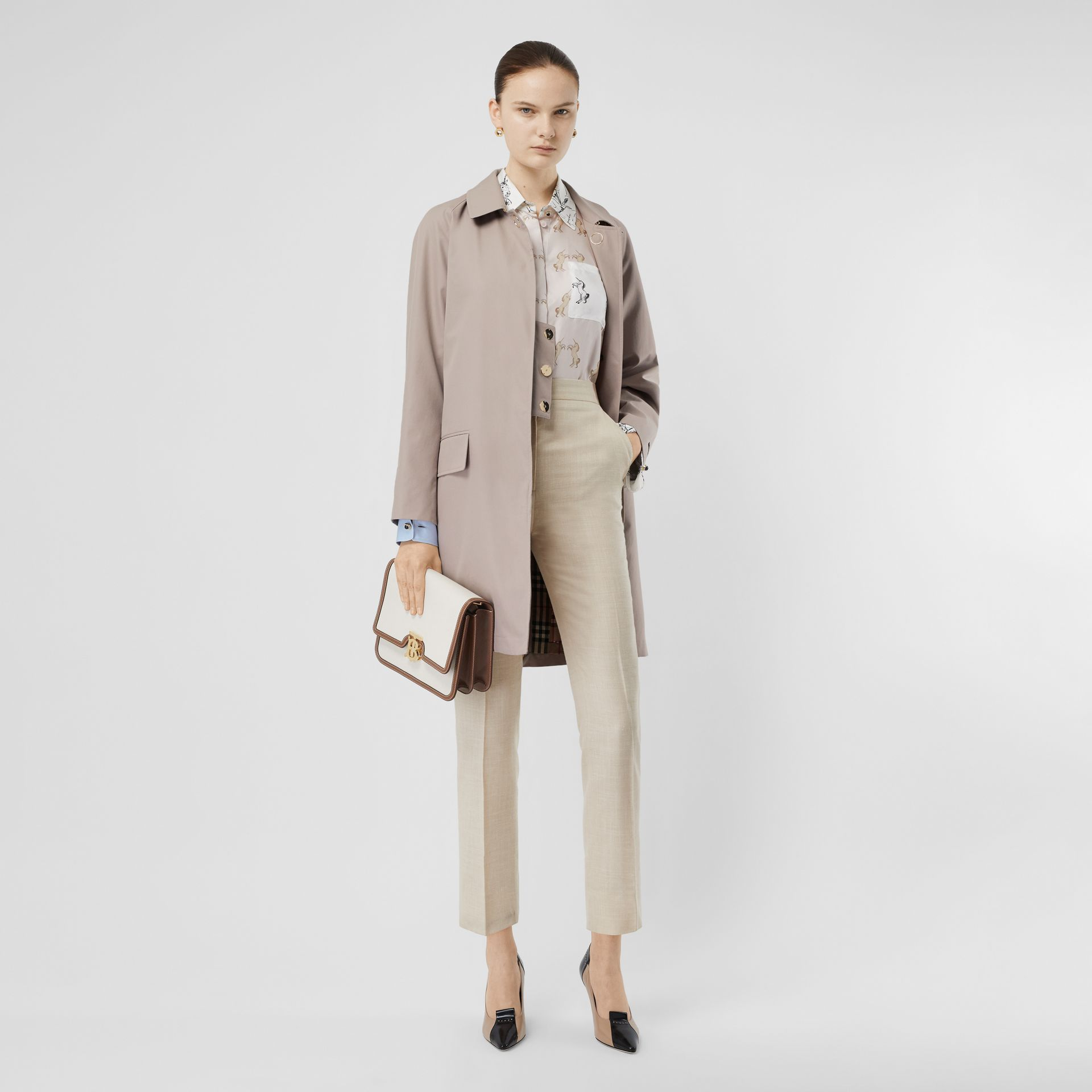 Cotton Gabardine Car Coat in Pale Blush - Women | Burberry United States - gallery image 0
