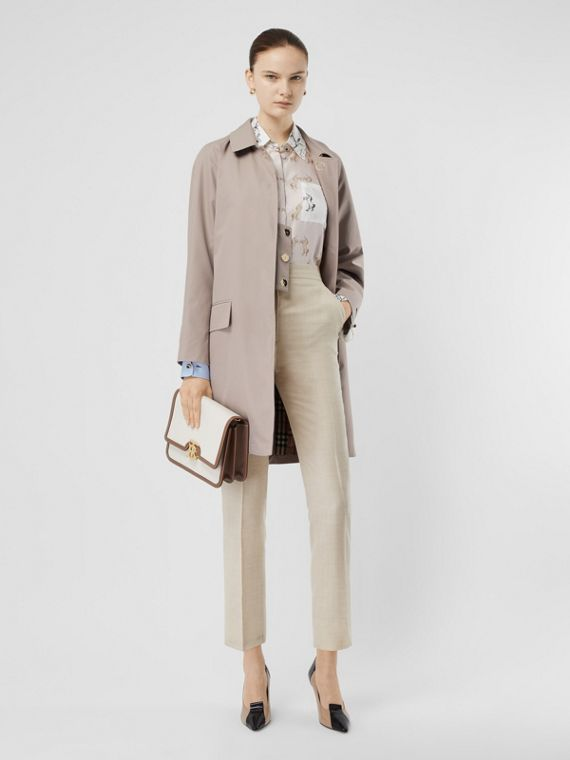 Cotton Gabardine Car Coat in Pale Blush