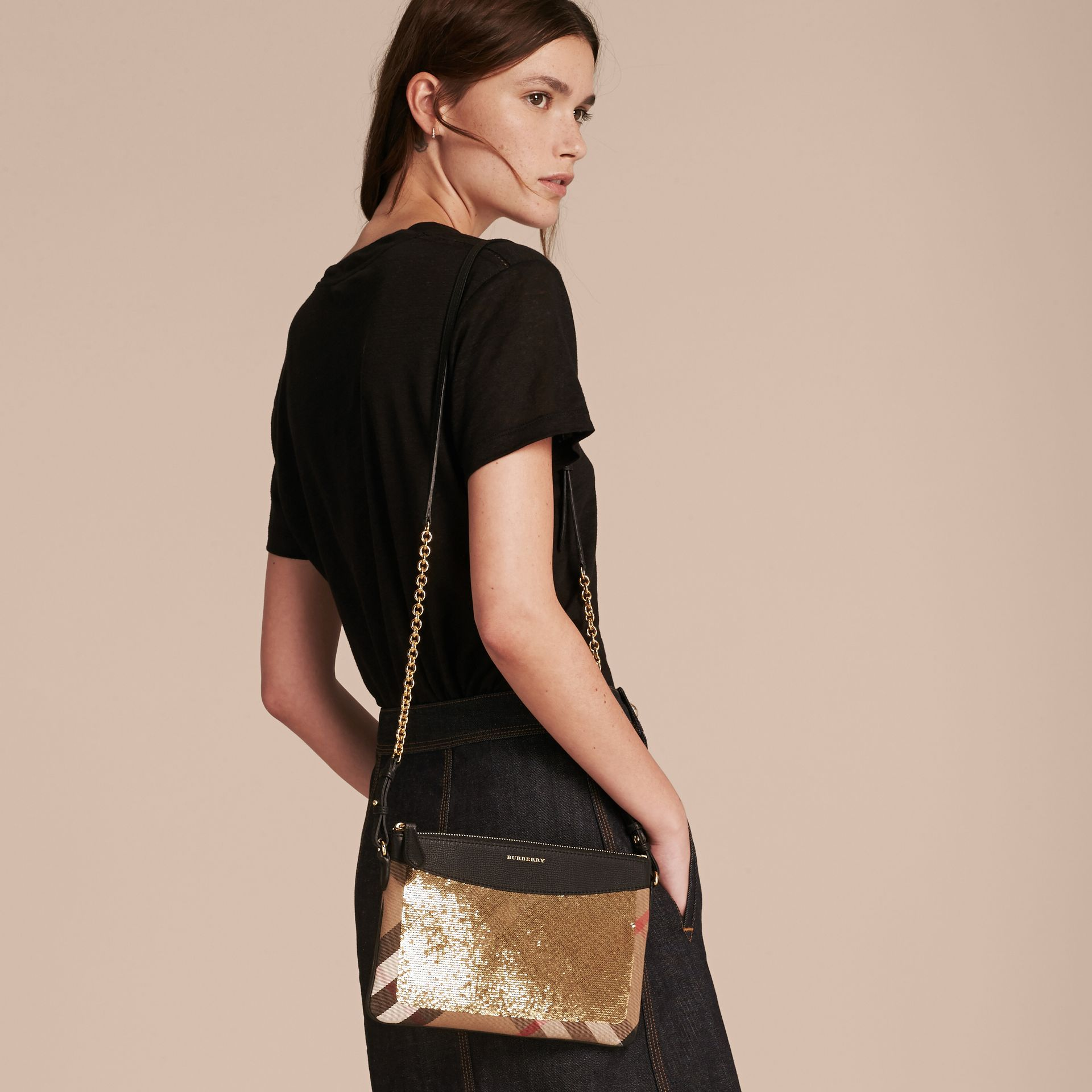 Leather, Sequin and Check Clutch Bag in Gold/black - gallery image 3