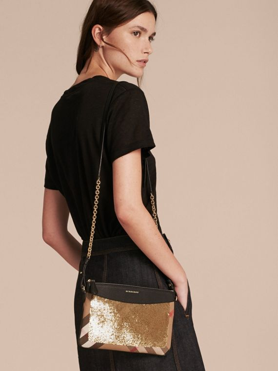 Gold/black Leather, Sequin and Check Clutch Bag Gold/black - cell image 2