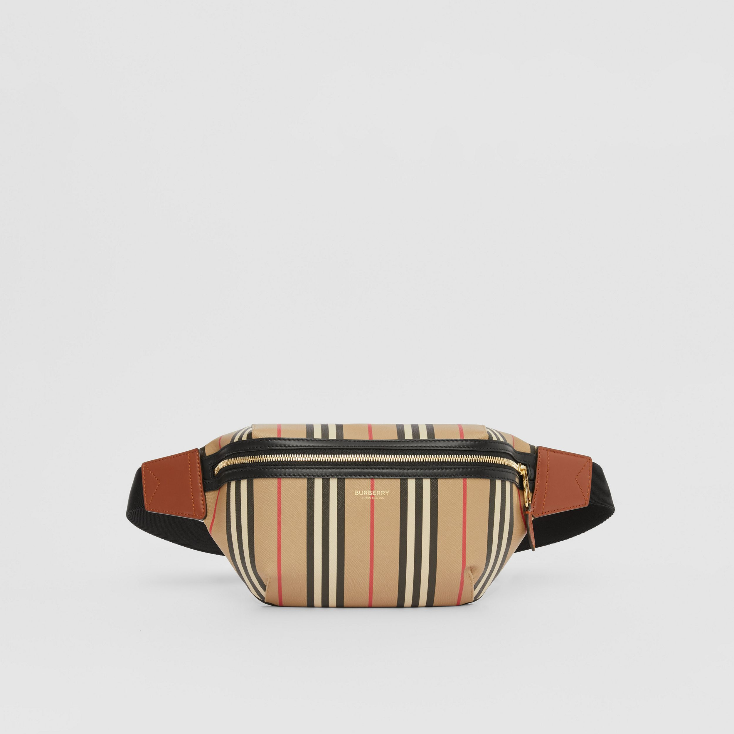 Icon Stripe E-canvas Sonny Bum Bag in Archive Beige | Burberry Australia - 1
