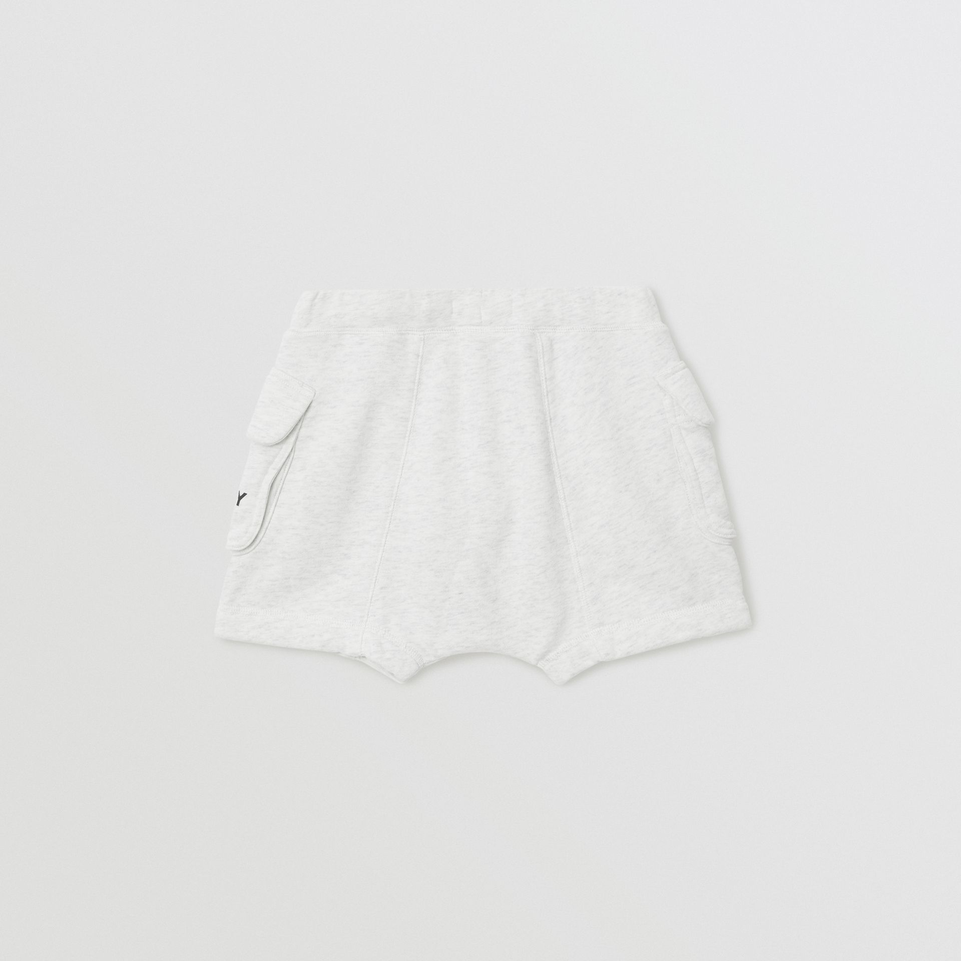 Logo Print Cotton Drawcord Shorts in White Melange | Burberry Singapore - gallery image 3