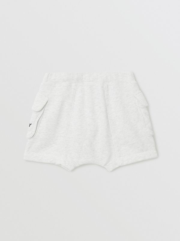Logo Print Cotton Drawcord Shorts in White Melange | Burberry Singapore - cell image 3