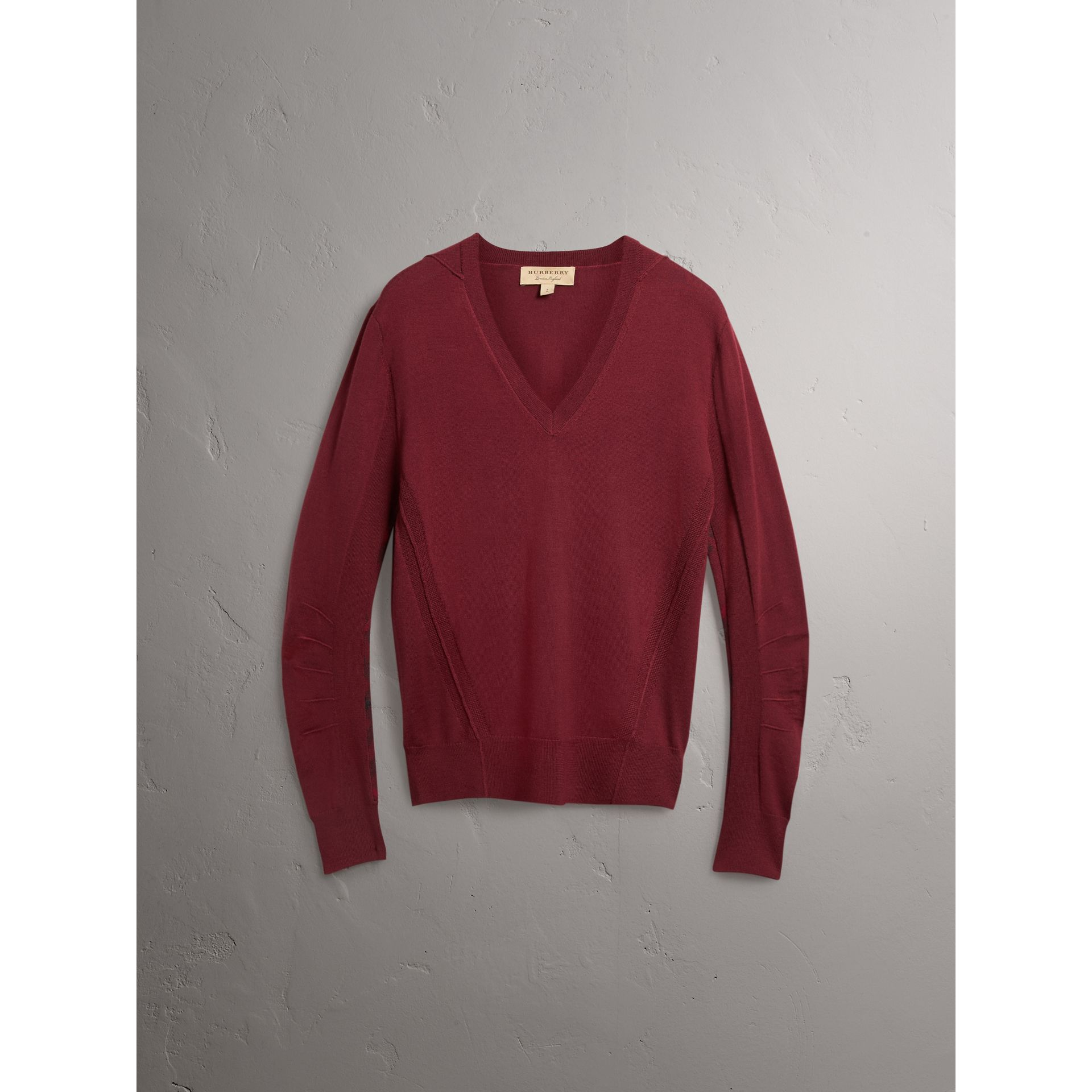 Check Detail Merino Wool V-neck Sweater in Burgundy - Men | Burberry - gallery image 3