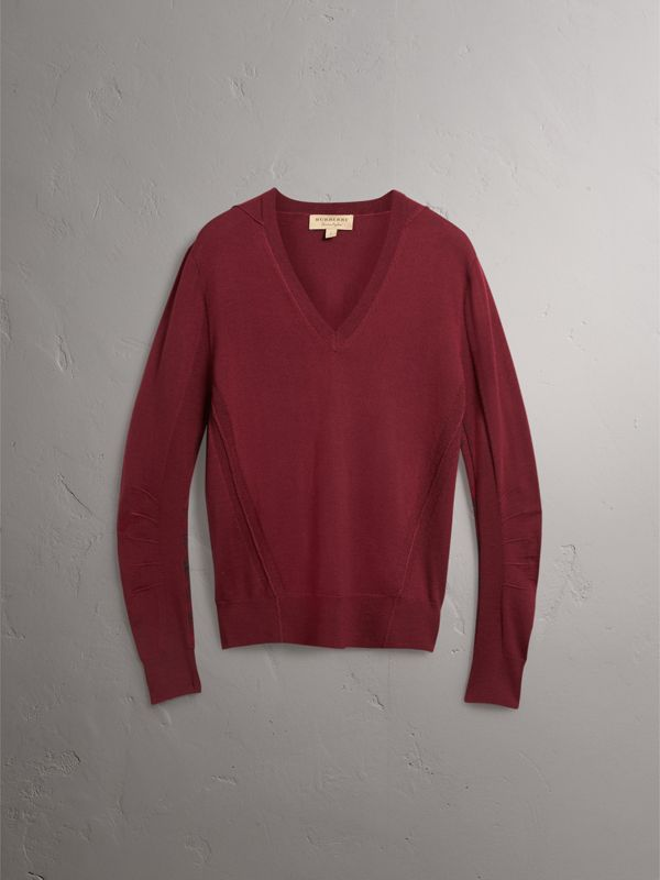 Check Detail Merino Wool V-neck Sweater in Burgundy - Men | Burberry - cell image 3