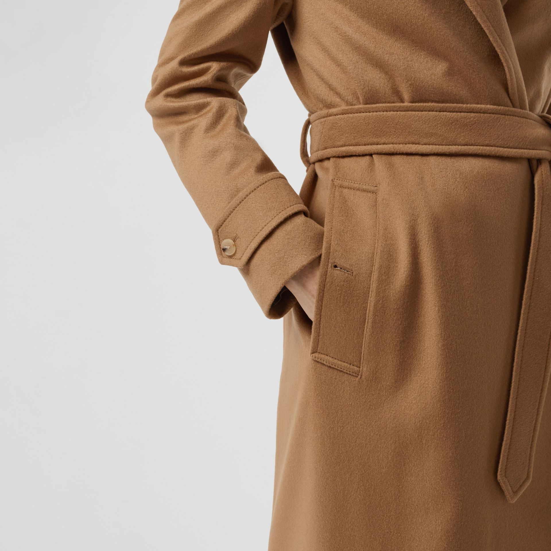 Peak Lapel Cashmere Wrap Coat in Dark Sand - Women | Burberry - gallery image 4
