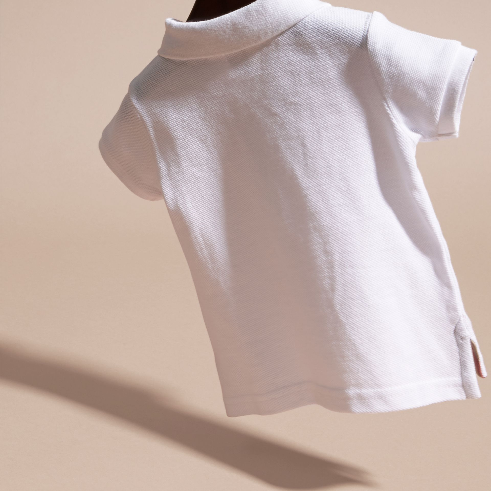 Cotton Piqué Polo Shirt in White | Burberry - gallery image 4