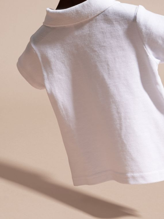 Cotton Piqué Polo Shirt in White | Burberry Canada - cell image 3