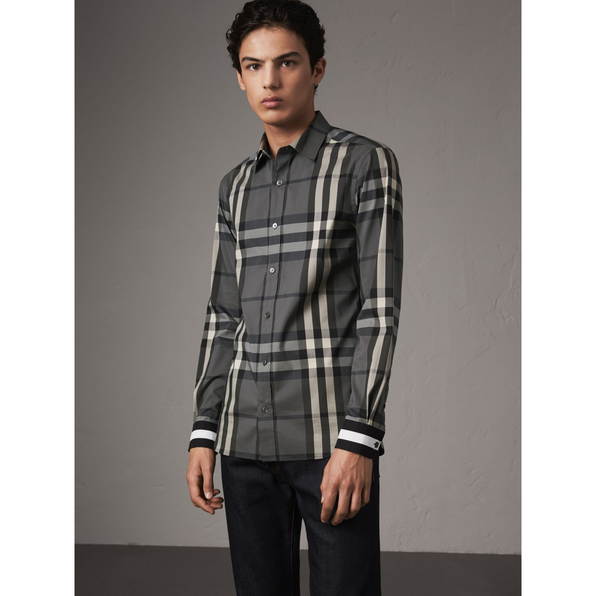 Striped Cuff Check Cotton Blend Shirt in Charcoal - Men | Burberry - gallery image 1
