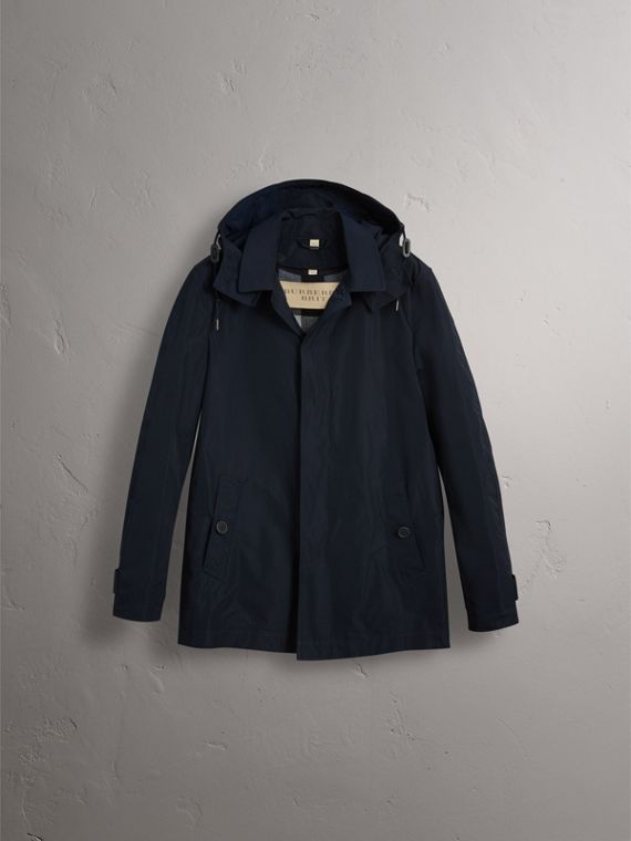 Showerproof Hooded Jacket with Removable Warmer in Ink - Men | Burberry - cell image 3