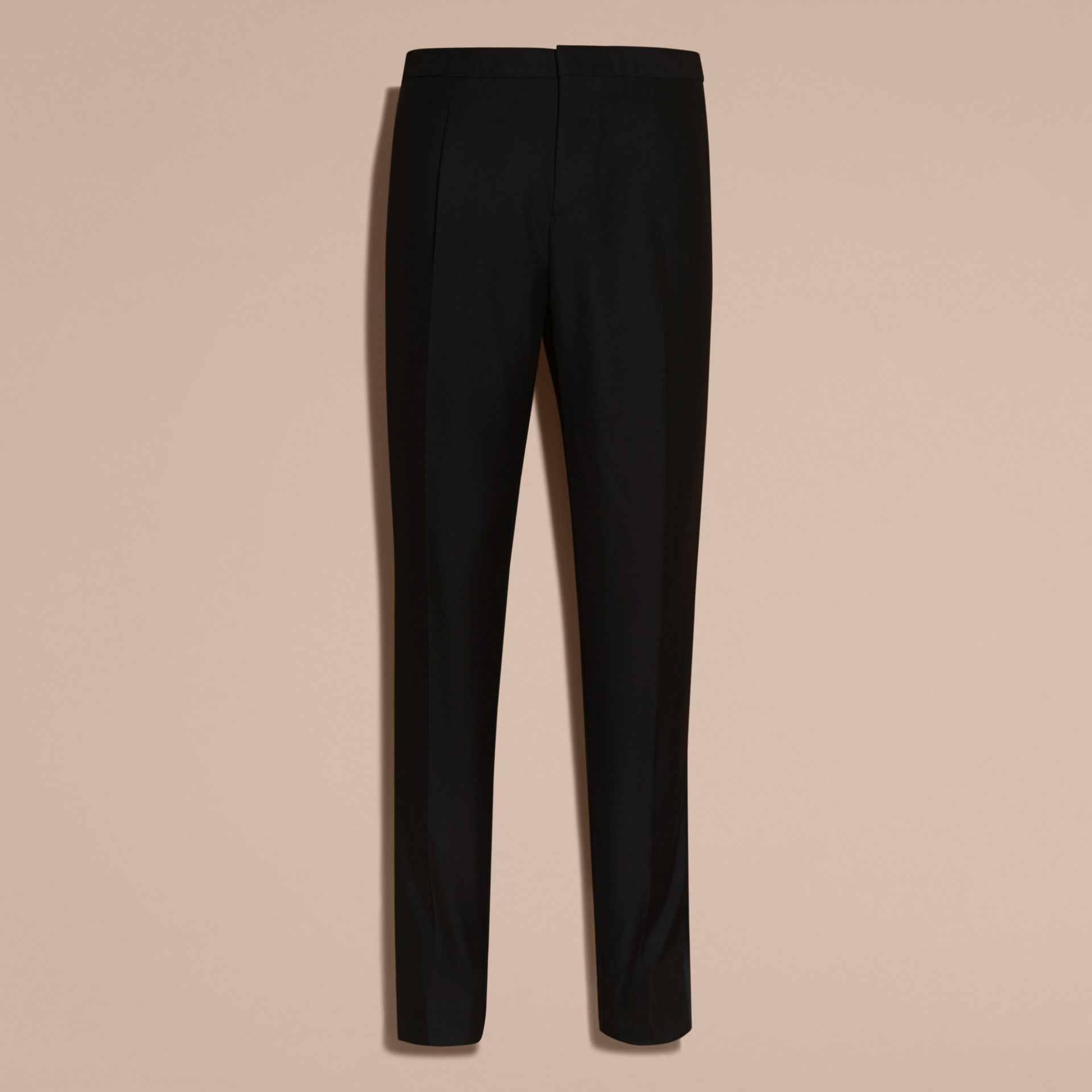 Modern Fit Wool Mohair Tuxedo Trousers in Black - Men | Burberry - gallery image 4