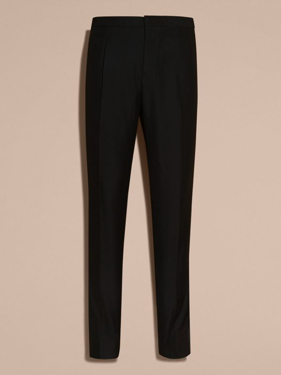 Modern Fit Wool Mohair Tuxedo Trousers in Black - Men | Burberry - cell image 3