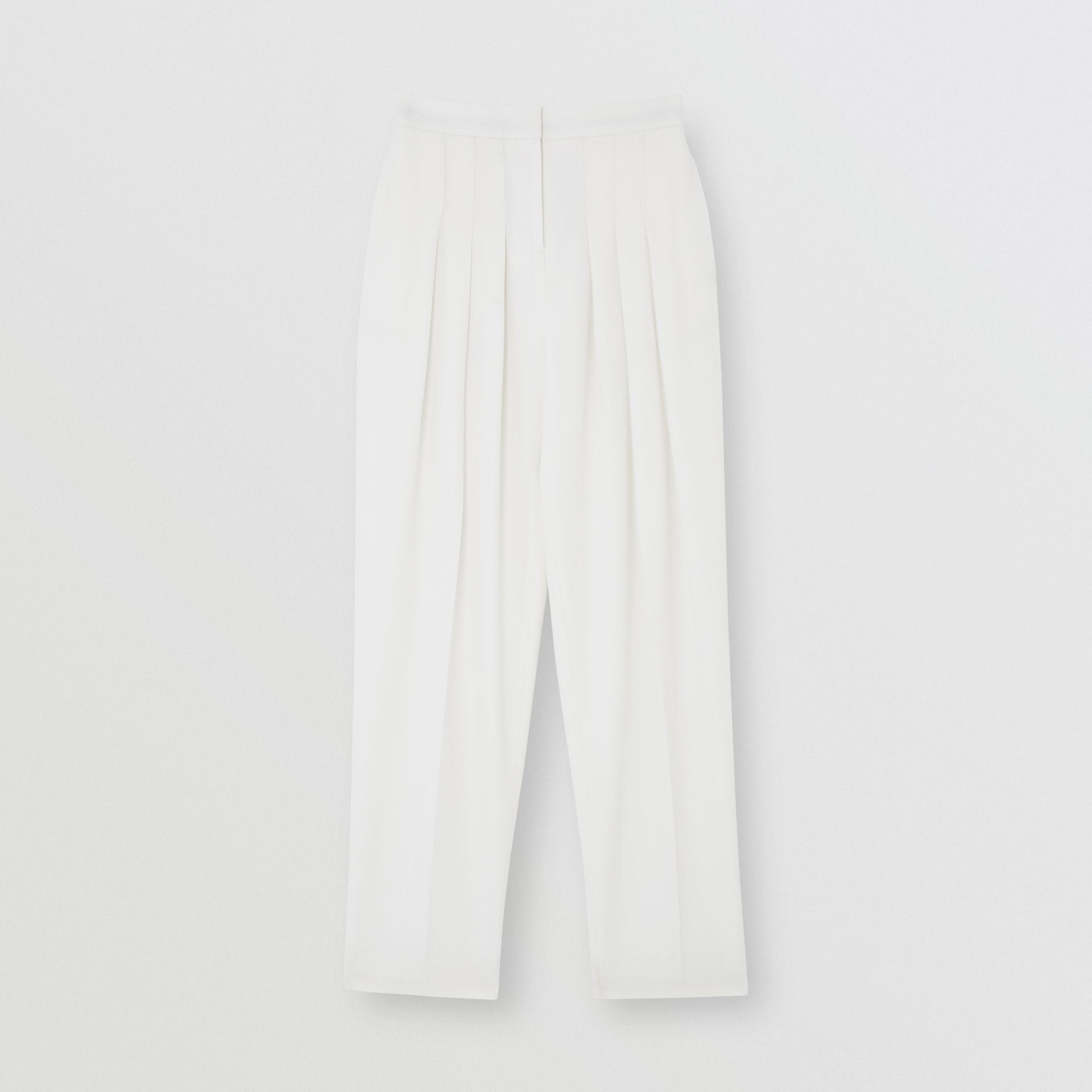 Grain De Poudre Wool Pleated Trousers in Snow - Women | Burberry United States - gallery image 1