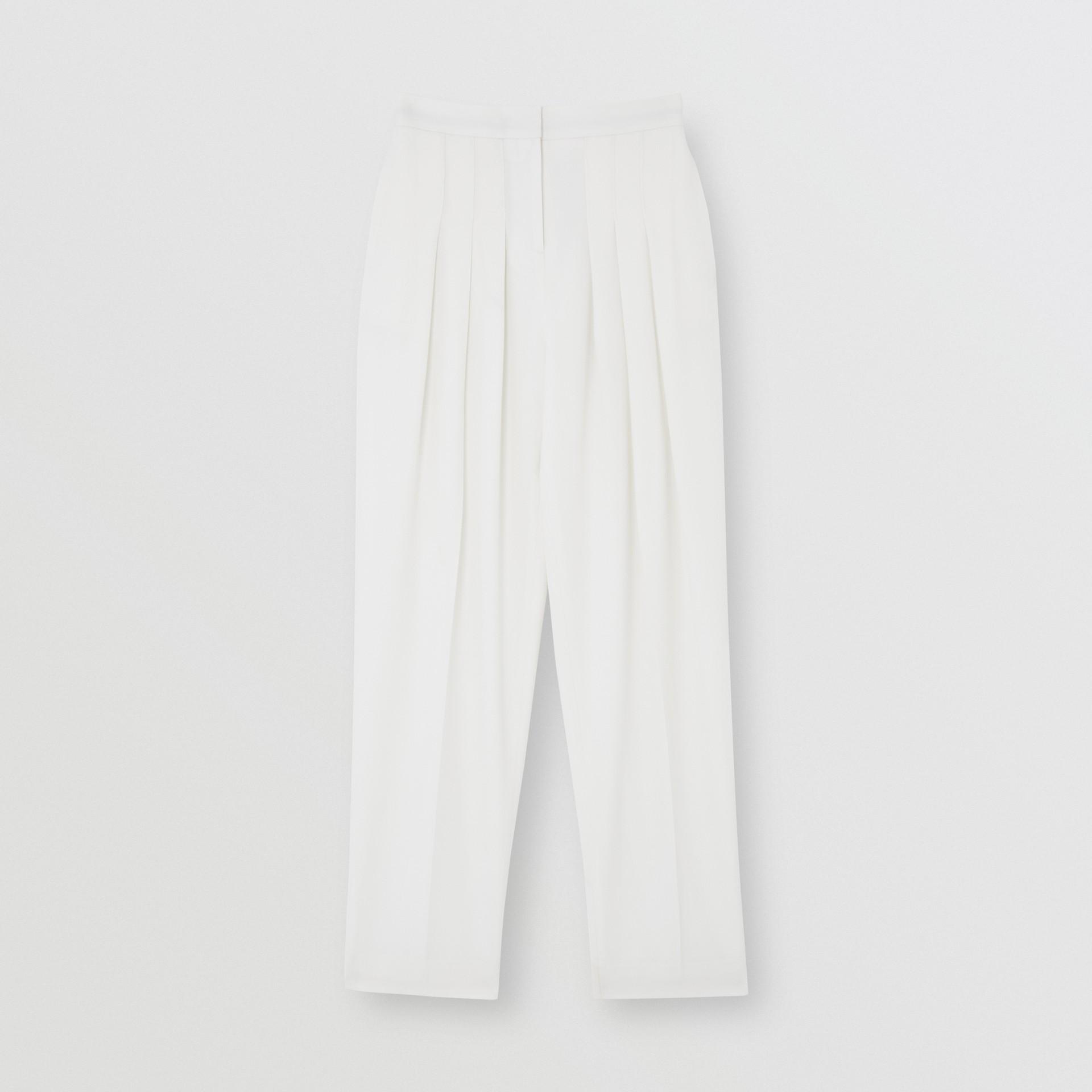 Шерстяные брюки с передними складками (Снег) - Для женщин | Burberry - изображение 1