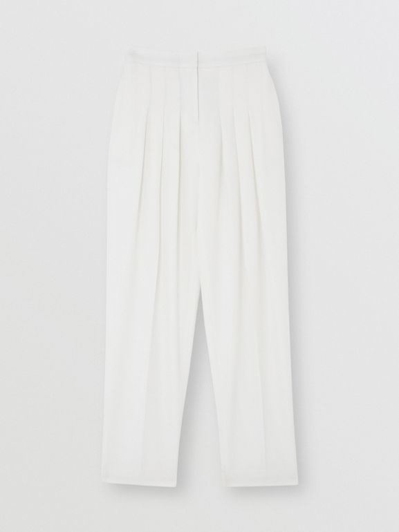 Grain De Poudre Wool Pleated Trousers in Snow - Women | Burberry - cell image 1