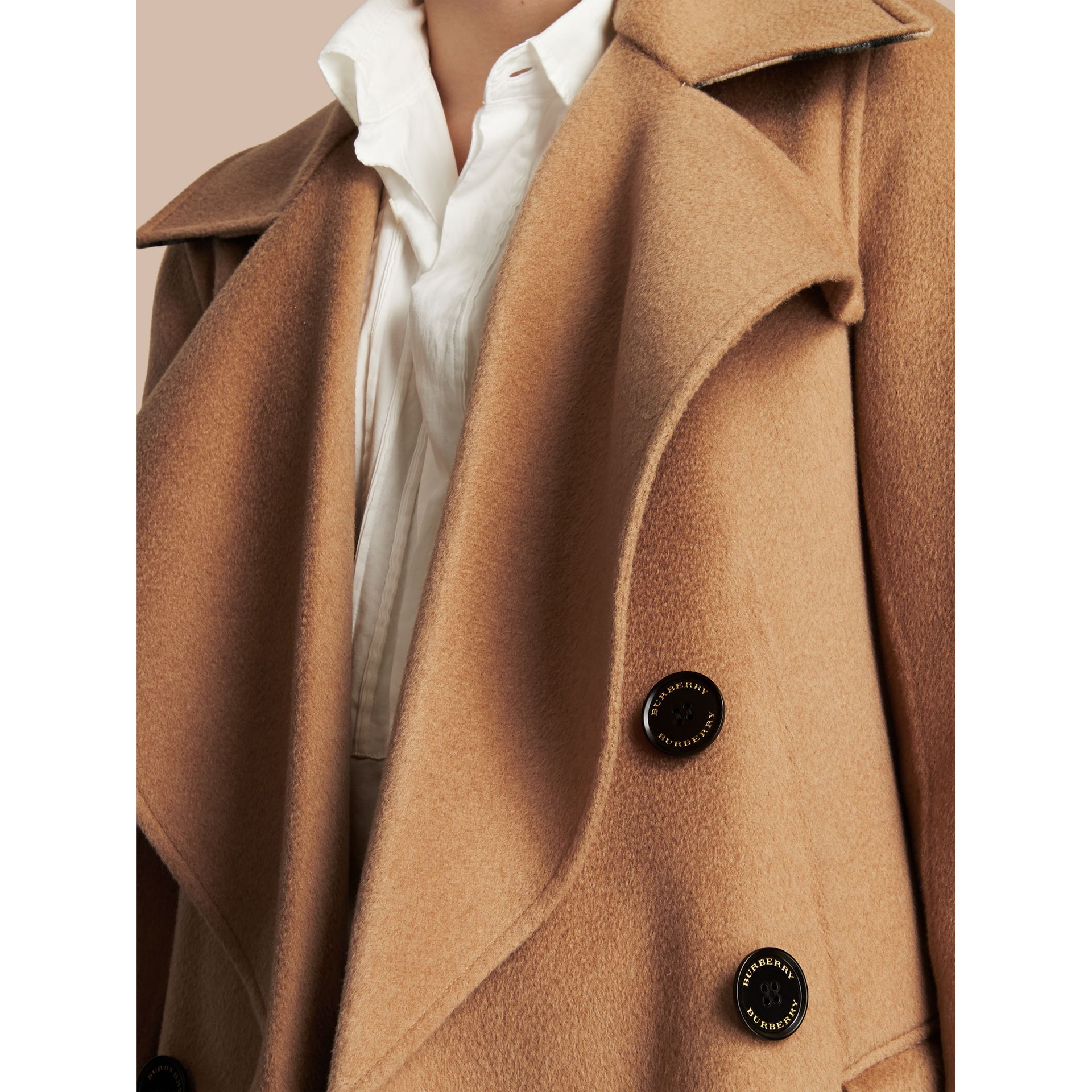Draped Front Camel Hair and Wool Tailored Coat - Women | Burberry - gallery image 2