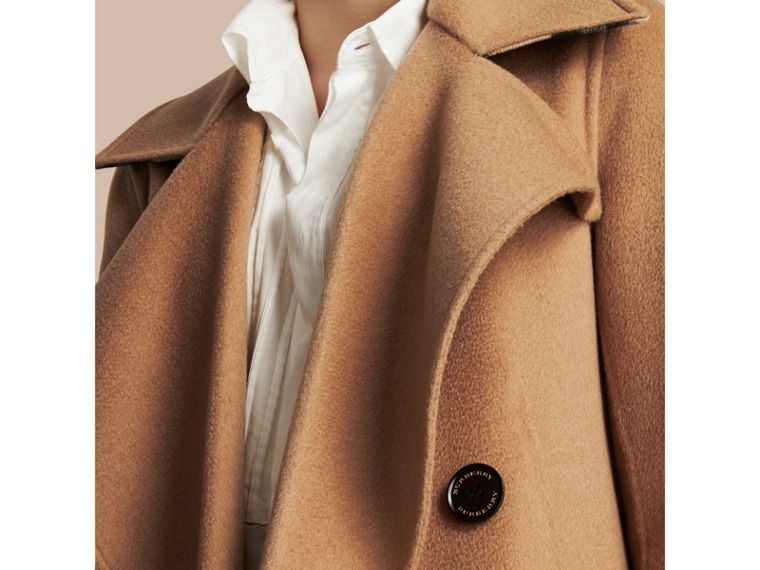 Draped Front Camel Hair and Wool Tailored Coat - Women | Burberry - cell image 1