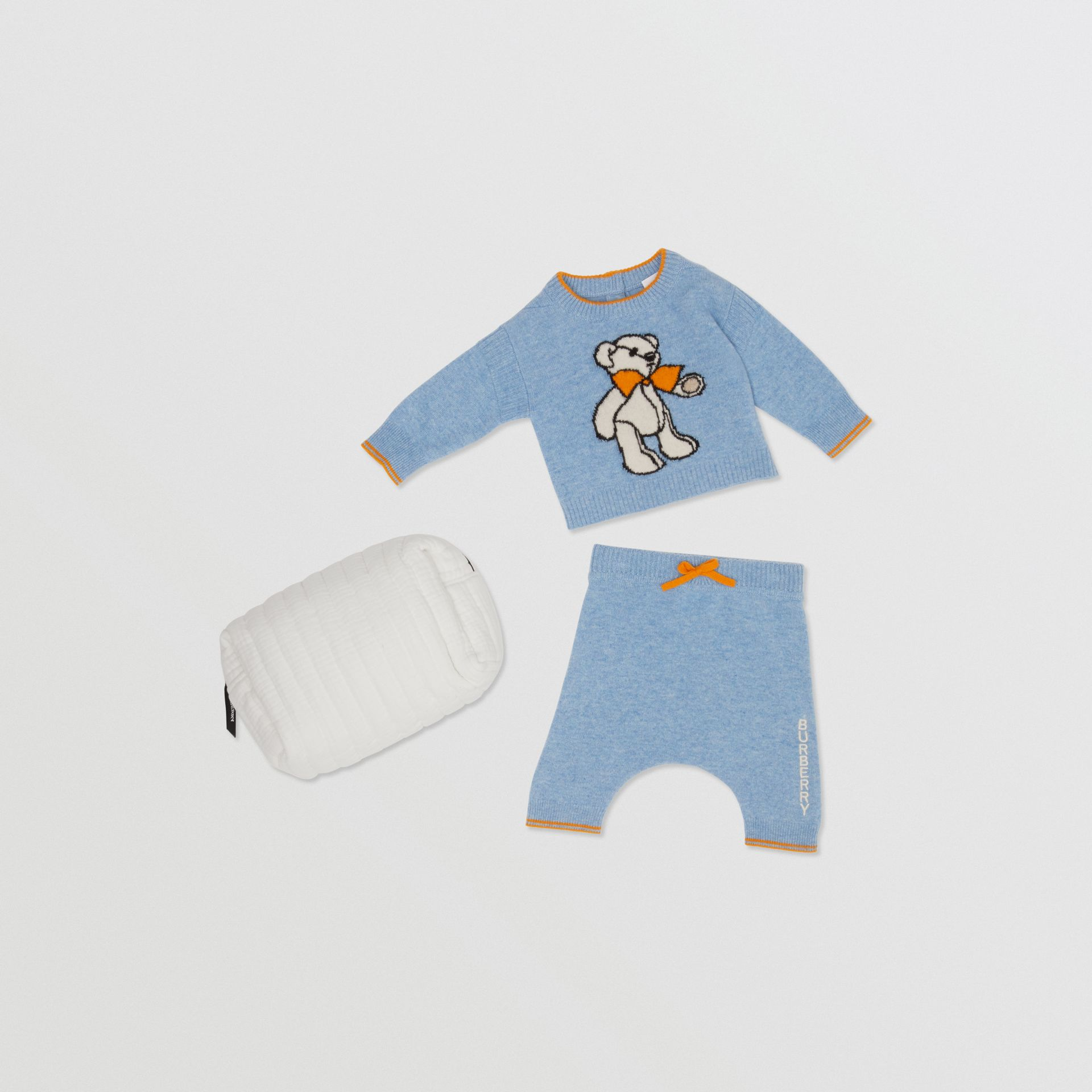 Bear Intarsia Wool Cashmere Two-piece Baby Gift Set in Pale Blue - Children | Burberry United Kingdom - gallery image 0