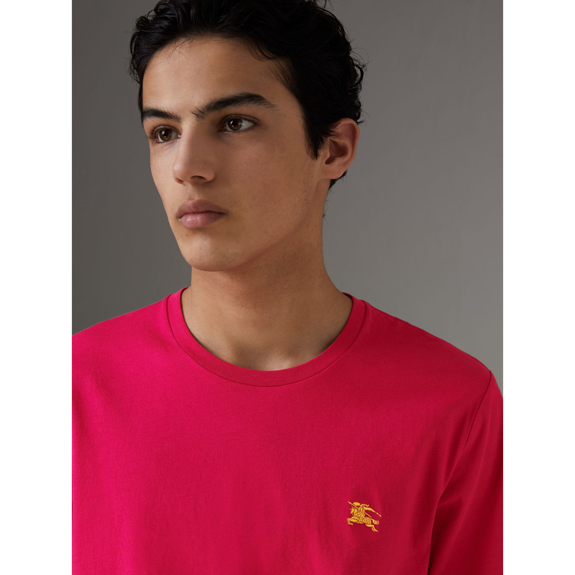 Cotton Jersey T-shirt in Bright Pink - Men | Burberry - gallery image 1