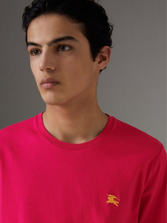 Cotton Jersey T-shirt in Bright Pink - Men | Burberry - cell image 1