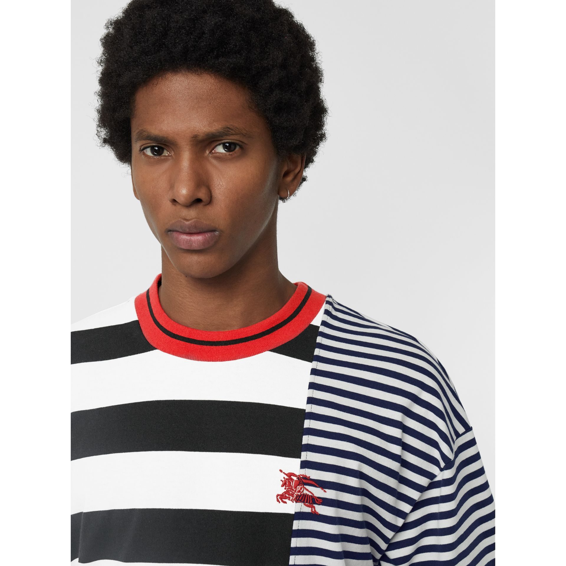 Contrast Stripe Cotton T-shirt in Navy - Men | Burberry - gallery image 1