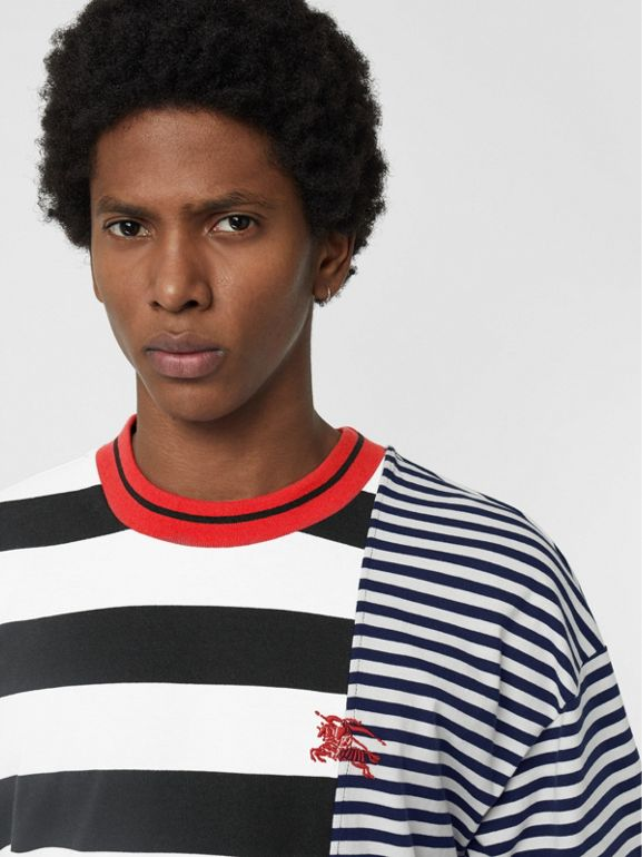 Contrast Stripe Cotton T-shirt in Navy - Men | Burberry - cell image 1