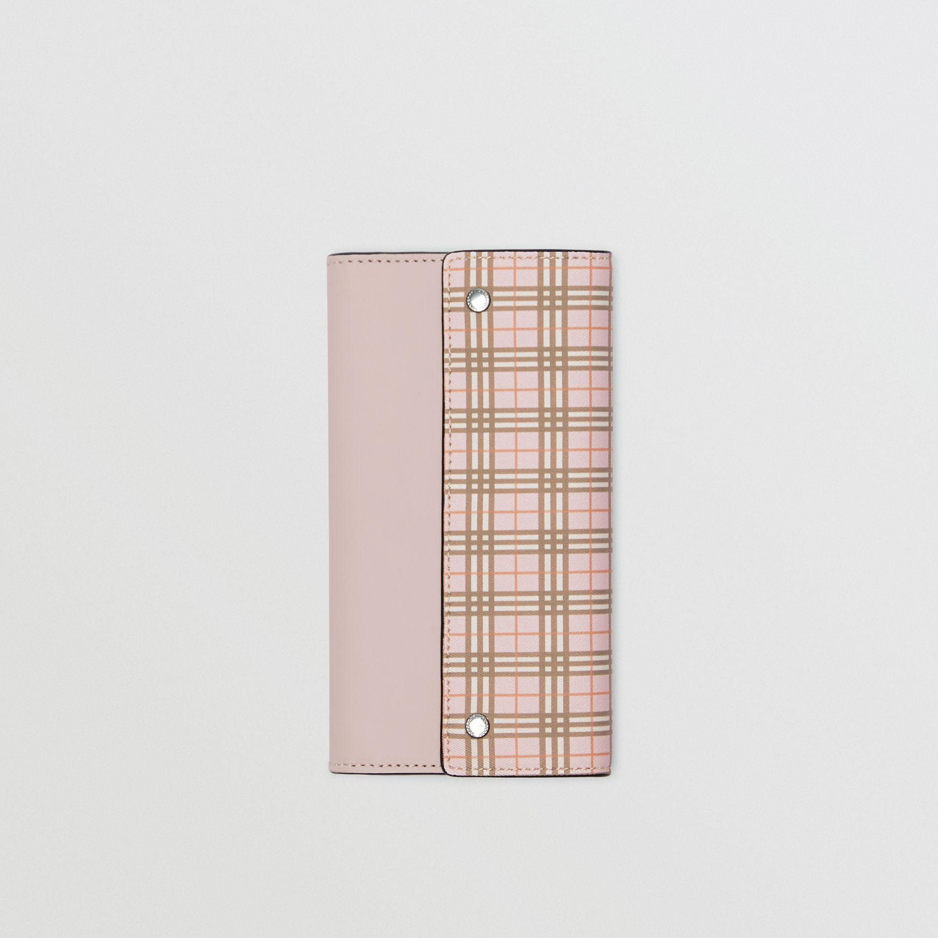 Small Scale Check and Leather Continental Wallet in Ice Pink - Women | Burberry - gallery image 2