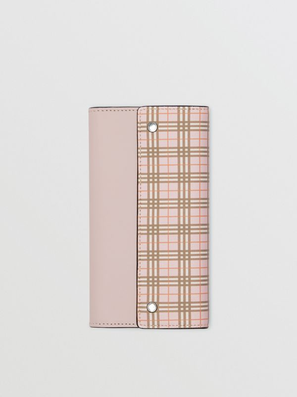 Small Scale Check and Leather Continental Wallet in Ice Pink - Women | Burberry - cell image 2