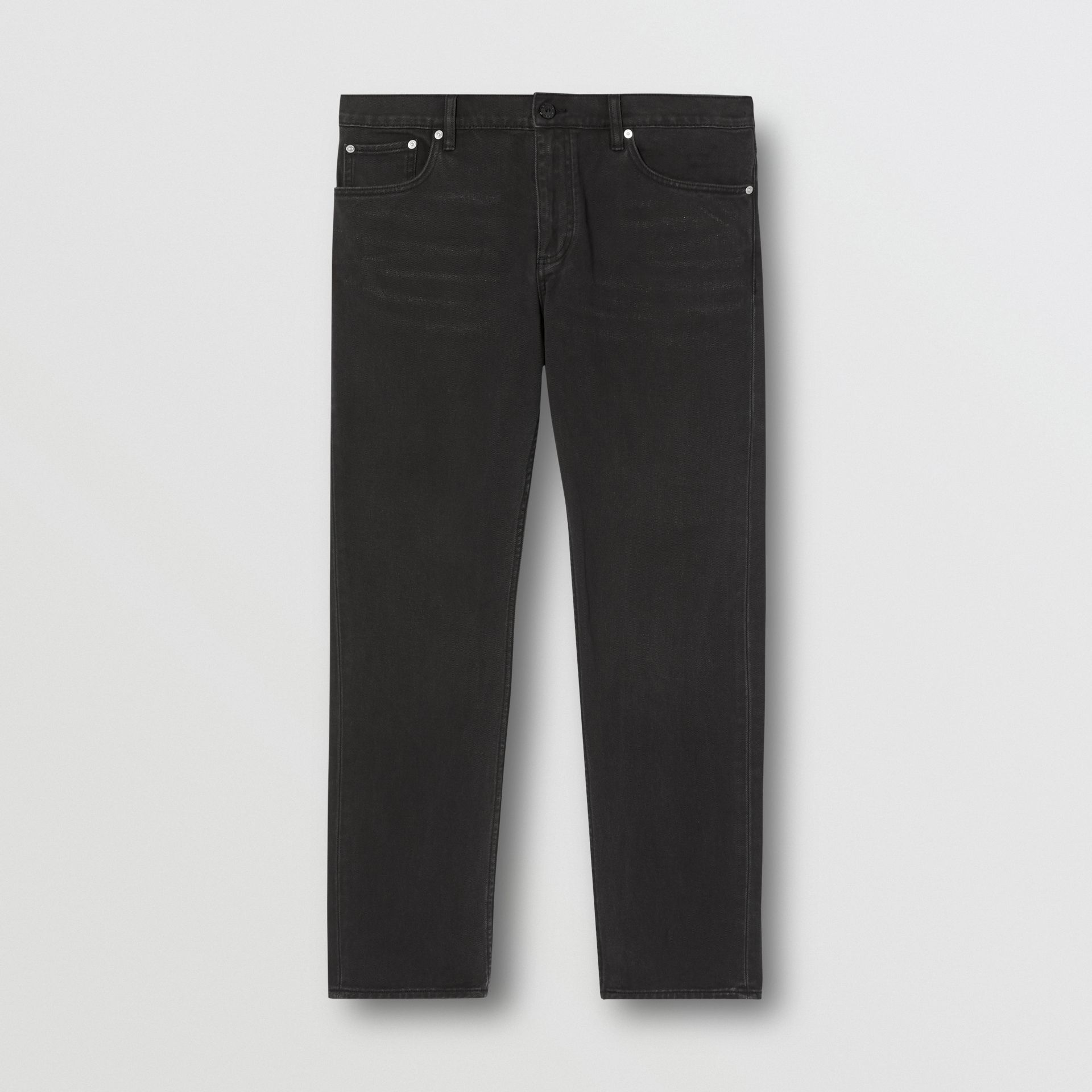 Straight Fit Washed Jeans in Black - Men | Burberry - gallery image 3