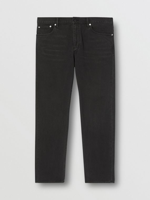 Straight Fit Washed Jeans in Black