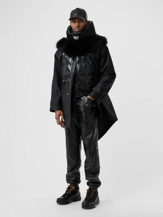 Detachable Hood Puffer Detail Nylon Parka in Black